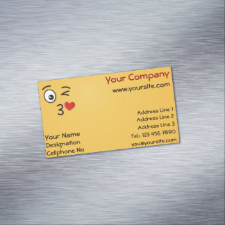 Face Throwing a Kiss Magnetic Business Card