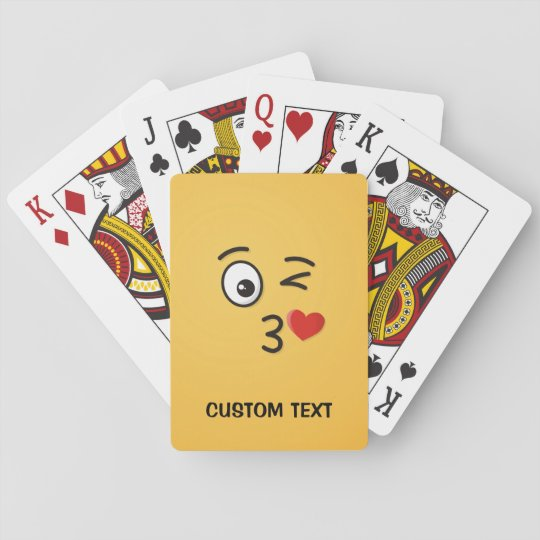 Face Throwing a Kiss Playing Cards