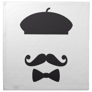 Face with french hat, mustache and tie cloth napkins