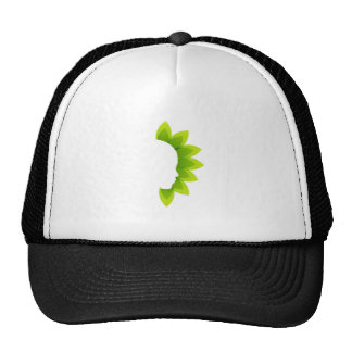 Face with green leaves trucker hat