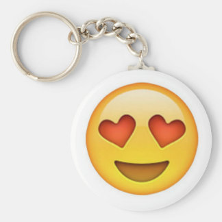 Face with heart shaped eyes emoji sticker basic round button key ring