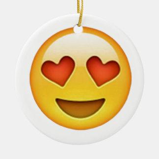 Face with heart shaped eyes emoji sticker round ceramic decoration
