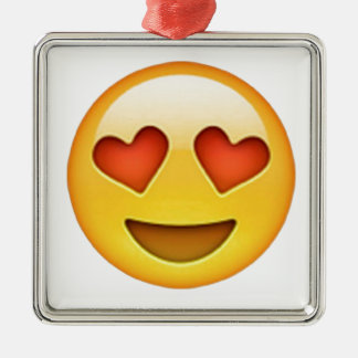 Face with heart shaped eyes emoji sticker Silver-Colored square decoration
