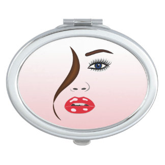 Face with Lipstick Girly Oval Compact Mirror