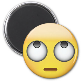 Face With Rolling Eyes Emoji 6 Cm Round Magnet
