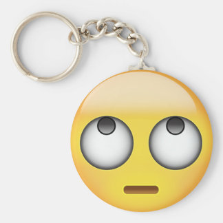 Face With Rolling Eyes Emoji Basic Round Button Key Ring