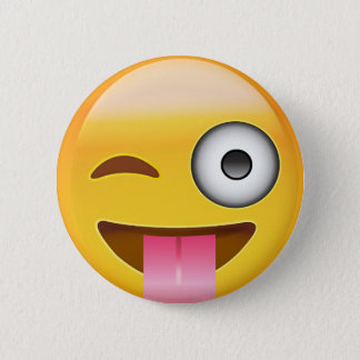 Face With Stuck Out Tongue And Winking Eye Emoji 6 Cm Round Badge
