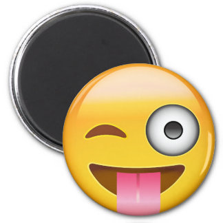 Face With Stuck Out Tongue And Winking Eye Emoji 6 Cm Round Magnet
