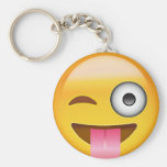 Face With Stuck Out Tongue And Winking Eye Emoji Basic Round Button Key Ring