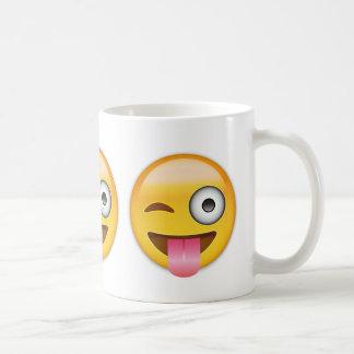 Face With Stuck Out Tongue And Winking Eye Emoji Basic White Mug