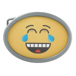 Face With Tears of Joy Oval Belt Buckle