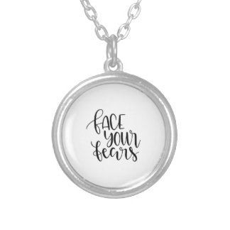 Face your fears silver plated necklace