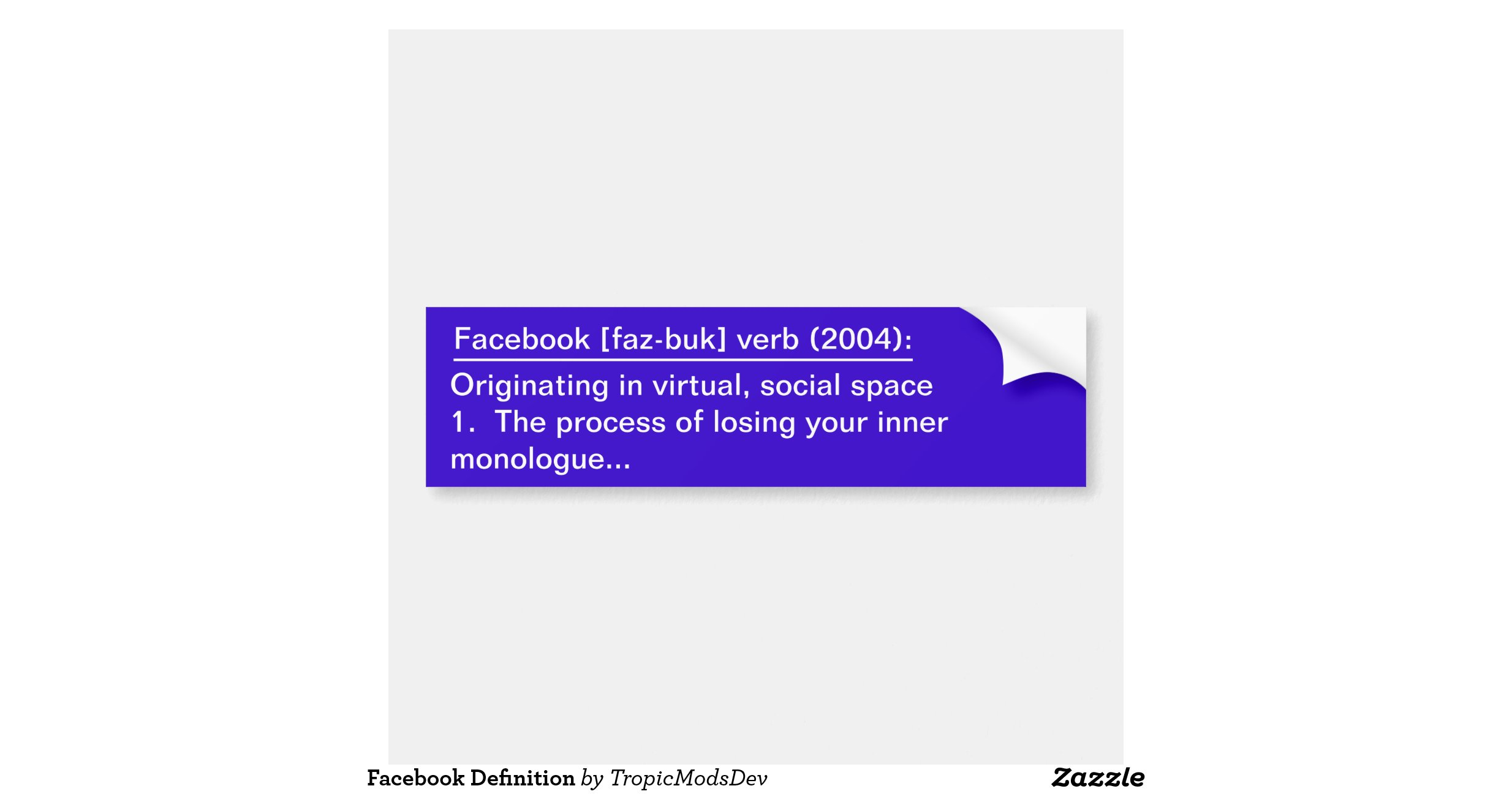 Facebook Definition Bumper Sticker Zazzle