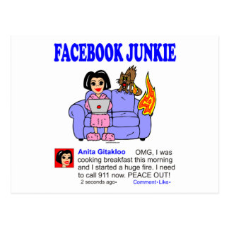 FACEBOOK JUNKIE POSTCARD