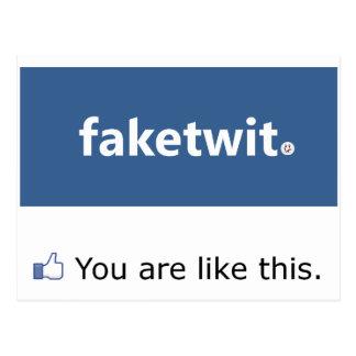 Facebook Narcissist Postcard