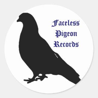 Faceless Pigeon Records Round Sticker
