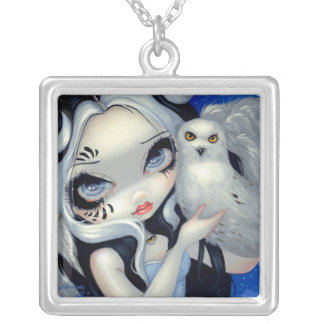 Faces of Faery 149 NECKLACE Snowy Owl Fairy