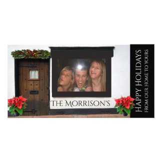 Faces Pressed Against Glass Christmas Picture Card