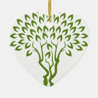 Faces Tree Optical Illusion Concept Ceramic Heart Decoration