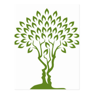 Faces Tree Optical Illusion Concept Postcard