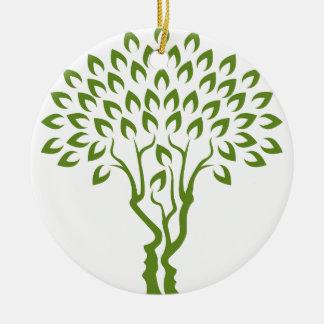 Faces Tree Optical Illusion Concept Round Ceramic Decoration