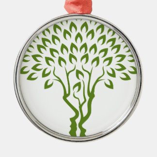 Faces Tree Optical Illusion Concept Silver-Colored Round Decoration