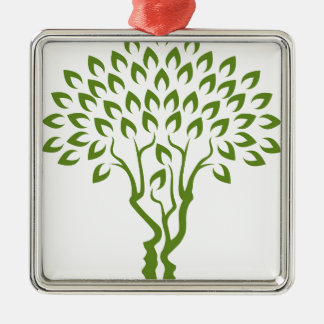 Faces Tree Optical Illusion Concept Silver-Colored Square Decoration