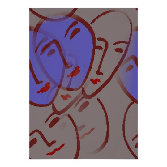 Faces With Blue Poster