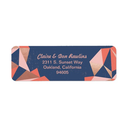 Faceted Geode Modern Geometric Mail Return Address Label