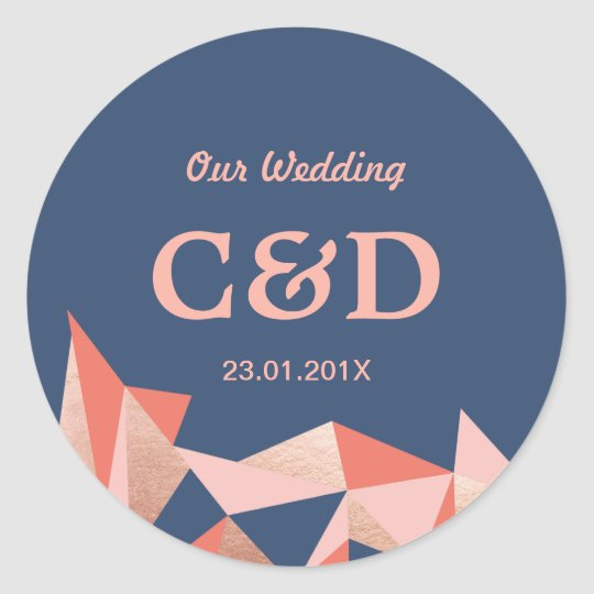 Faceted Geode Modern Geometric Wedding Monogram Classic Round
