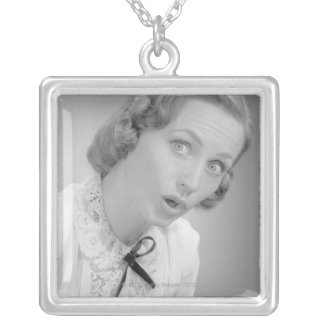 Facial Expressions Silver Plated Necklace