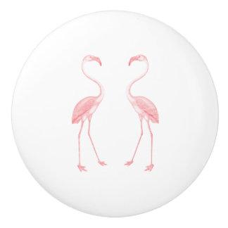 Facing Flamingos Ceramic Knob