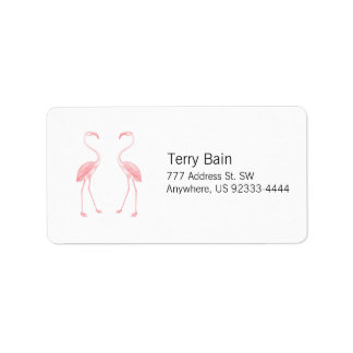 Facing Flamingos Label