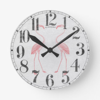 Facing Flamingos Round Clock