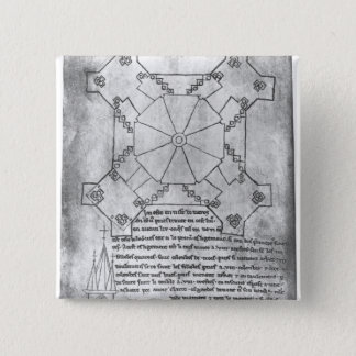 Facsimile copy of a plan of the tower 15 cm square badge