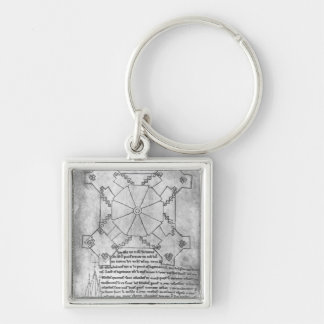 Facsimile copy of a plan of the tower Silver-Colored square key ring