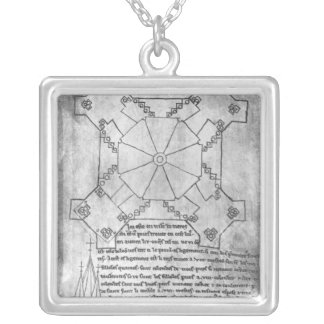 Facsimile copy of a plan of the tower silver plated necklace