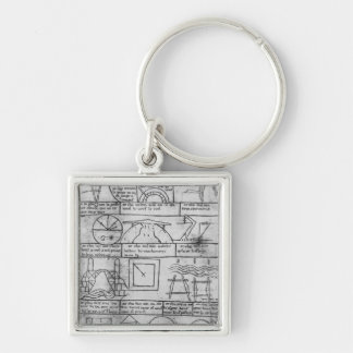 Facsimile copy of Geometrical figures Silver-Colored Square Key Ring