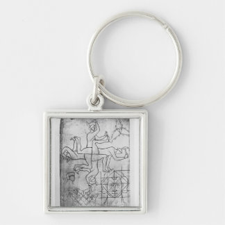 Facsimile copy of Ms Fr Studies of men Silver-Colored Square Key Ring