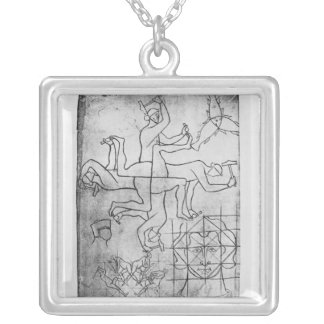 Facsimile copy of Ms Fr Studies of men Silver Plated Necklace