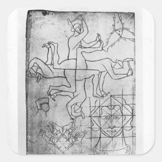 Facsimile copy of Ms Fr Studies of men Square Sticker