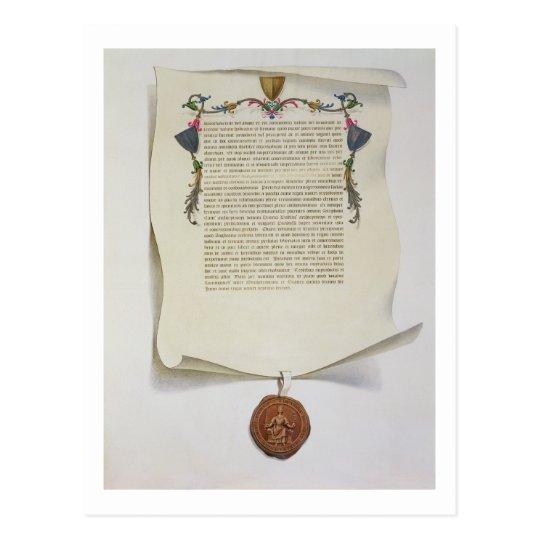 Facsimile edition of the Magna Carta, first publis Postcard