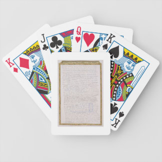 Facsimile of a letter from Elizabeth I to Francois Bicycle Playing Cards