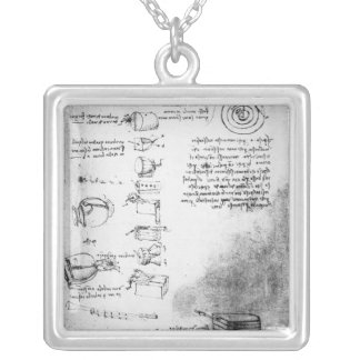 Facsimile of a page from the Codex Arundel Silver Plated Necklace
