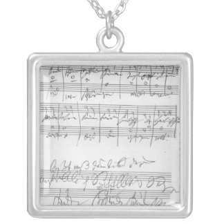Facsimile of a page of music silver plated necklace