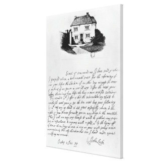 Facsimile of letter illustrating  house in canvas print