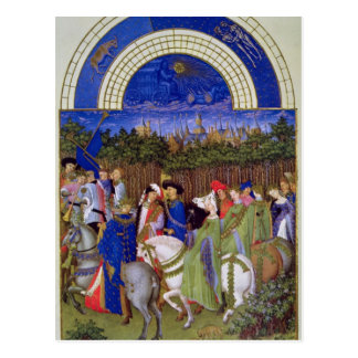 Facsimile of May: Courtly Figures on Horseback Postcard