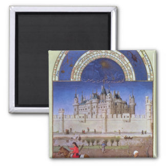 Facsimile of October: sowing the winter grain Square Magnet