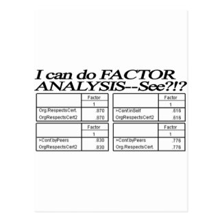 Factor Analysis Tables / Statistician Post Cards