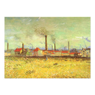 Factories at Asnieres, van Gogh, Vintage Fine Art Custom Invite